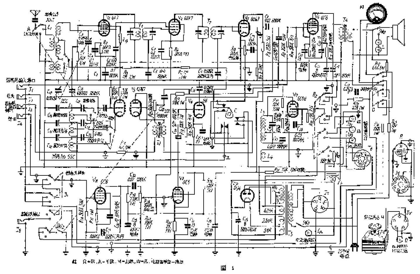 有时候,在进行广播、放唱片或电影录音时需要进行解说,因此另外用两只6C6管组成一个语言放大器接在56管的栅极上,同时它也是录音机放音时的前置放大级。录放开关B有三个位置,即录音、放音和录音头输出。图中B是表示在录音时的位置,这时红色指示灯亮,第二位置是放音,绿灯亮,在第三位置时录音头接通输出插口J5,全机高压又被开关B切断,淡绿灯亮。在倒线时,开关B必须放在放音位置,否则倒线时会把已录好的声音抹去。末级强放管6F6输出经开关SW3接到喇叭或假负荷L上,作语言录音时,SW3应接假负荷L,防止喇叭回授引起干扰